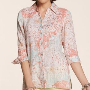 Chico's Sunset Dreams Linen Top Size 16  NWT